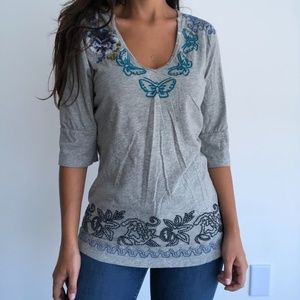 Johnny Was embroidered gray 3/4 sleeve shirt